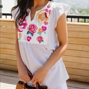 Flowers & Dots Embroidered Blouse